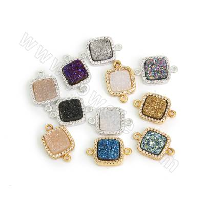 Electroplated Natural Druzy Agate Connectors, with CZ Brass findings, Square, Hole 1.5mm, Size 11.5mm, 9pcs/pack