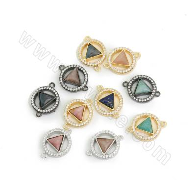 CZ Brass Connectors, with Natural Triangle Gemstone, Circle, Hole 1.2mm, Size 13mm, 6pcs/pack