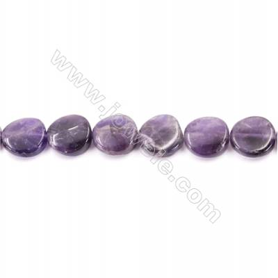 Natural Amethyst Beads Strand  Twisted Flat Round  Size 16mm  hole 1mm  about 25 beads/strand 15~16""