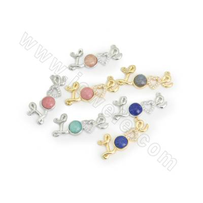 CZ Brass Micro Pave Cubic Zirconia Links/Connectors, with Natural Gemstone, Love, Hole 1mm, Size 30x12mm, 5pcs/pack