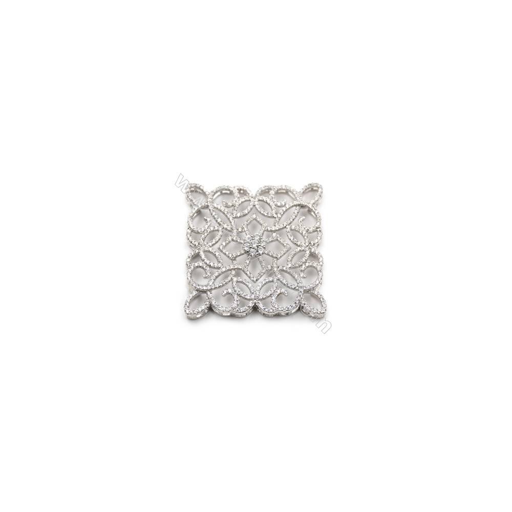 925 sterling silver platinum plated zircon pendant, 37x37mm, x 2pcs
