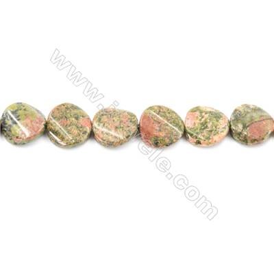 Natural Unakite Beads Strand  Flat Round Diameter 16mm  hole 1mm  about 24 beads/strand 15~16""
