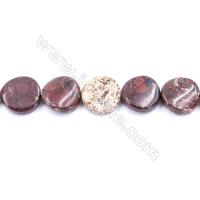 """Natural Brecciated Jasper Beads Strand  Twisted Flat Round  Diameter 16mm   hole 1mm   about 25 beads/strand 15~16"""""""