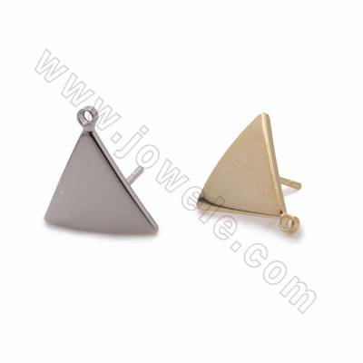 Brass Stud Earring findings, Triangle, Size 11x13mm, Pin 0.7mm, Hole 1.3mm, 80pcs/pack, (Real Gold, White Gold) Plated