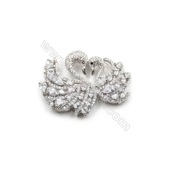 Platinum plated 925 sterling silver CZ pendant, 36x27 mm, x 2 pcs