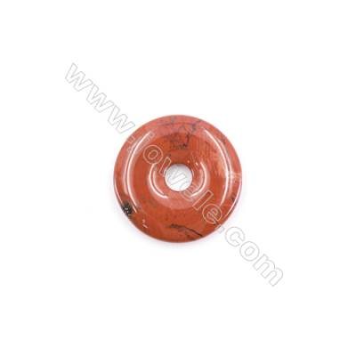 Natural Red Jasper Pendant Accessory  Donut   ​​​​​​​Diameter 30mm  hole 6mm x 1piece