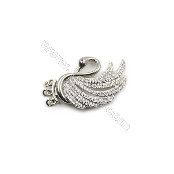 925 sterling silver platinum plated zircon pendant, 21x34mm, x 5 pcs