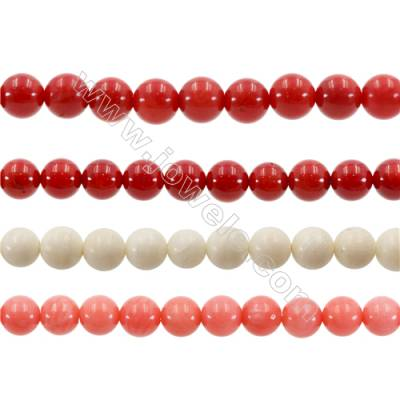 Various Colors Coral Round Beads Strands  Dyed  Diameter 7mm  Hole: 1mm  about 60 pcs/strand 15~16""