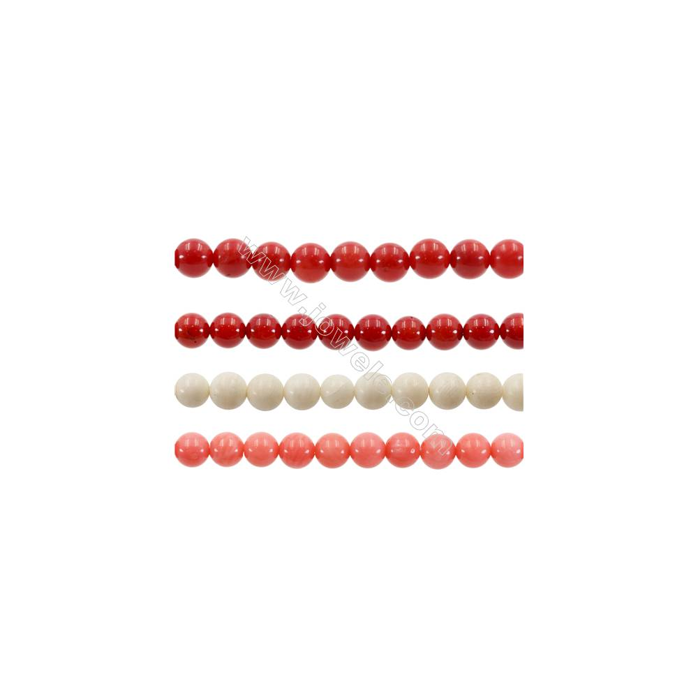 """Various Colors Coral Round Beads Strands  Dyed  Diameter 7mm  Hole: 1mm  about 60 pcs/strand 15~16"""""""
