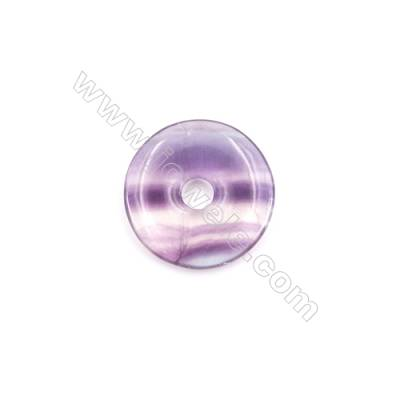 Natural Fluorite Pendant Accessory  Donut  Diameter 30mm  hole 6mm x 1piece