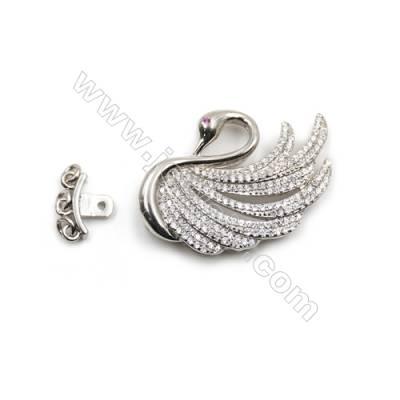 925 sterling silver platinum plated zircon pendant-841094 21x34mm x 5 pcs