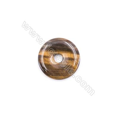 Natural Tiger Eye Pendant Accessory  Donut  Diameter 30mm   hole 6mm x 1piece