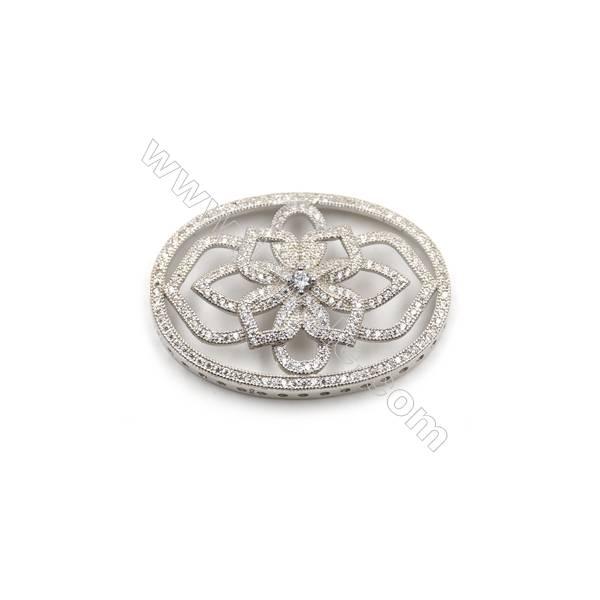 925 sterling silver platinum plated zircon pendant, 28 x 39mm, x 2 pcs