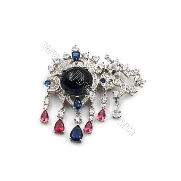 Platinum plated 925 sterling silver zircon pendant, 47x34mm, x 2pcs