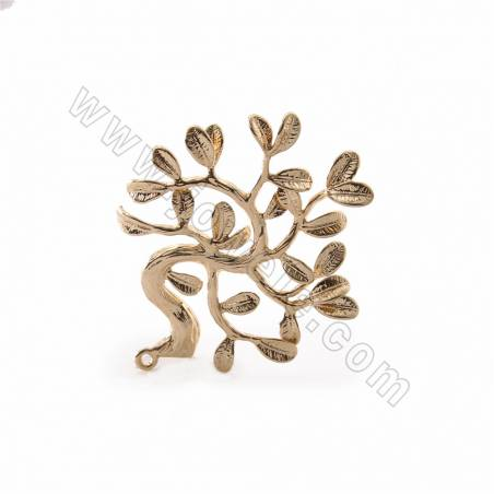 Brass Pendants, Lucky Tree, Real Gold Plated, Size 32x37mm, Hole 1.4mm, 36pcs/pack