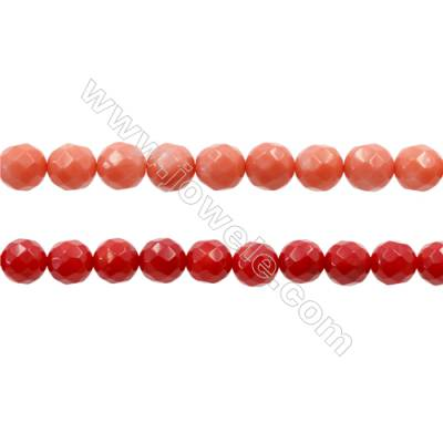 Various Colors Coral Faceted Round Beads Strands, Dyed, Diameter 7mm, Hole 1mm, about 53 pcs/strand 15~16""