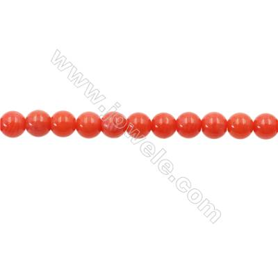Orange Coral Round Beads Strands, Dyed, Diameter 4mm, Hole 0.8mm, about 91 pcs/strand 15~16""