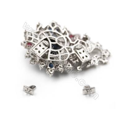 Platinum plated 925 sterling silver zircon pendant-83953 47x34mm x 2pcs