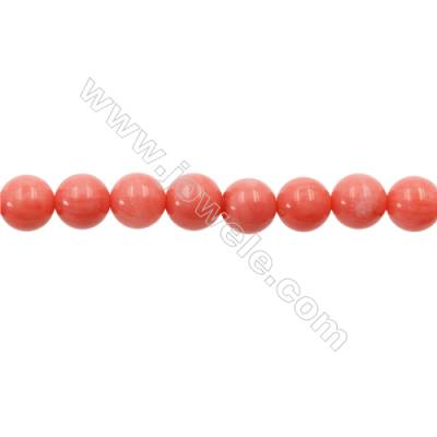 Pink Colors Coral Round Beads Strands, Dyed, Diameter 8mm, Hole 1mm, about 51 pcs/strand 15~16""