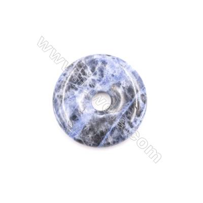 Natural Sodalite Pendant Accessory  Donut  Diameter 40mm  Hole 8mm  x 1piece