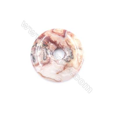 Crazy Lace Agate Pendant Accessory  Donut  Diameter 40mm  hole 8mm  x 1piece