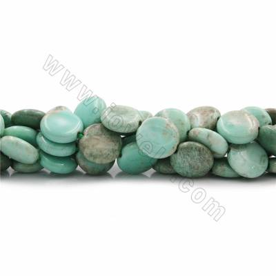 "Natural Green Grass Agate Beads Strands, Flat Round, Diameter 16mm, Thick 6mm, Hole 1.5mm, 15~16""/strand"