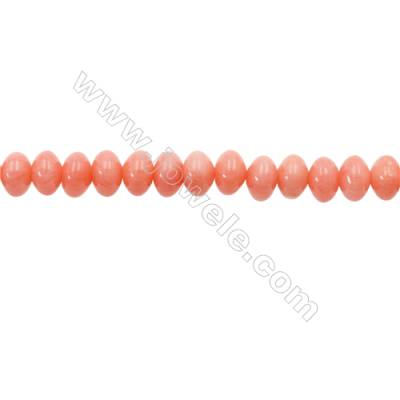 Pink Colors Coral Abacus Beads Strands, Dyed, Size 4x6mm, Hole 0.8mm, about 100 pcs/strand 15~16""