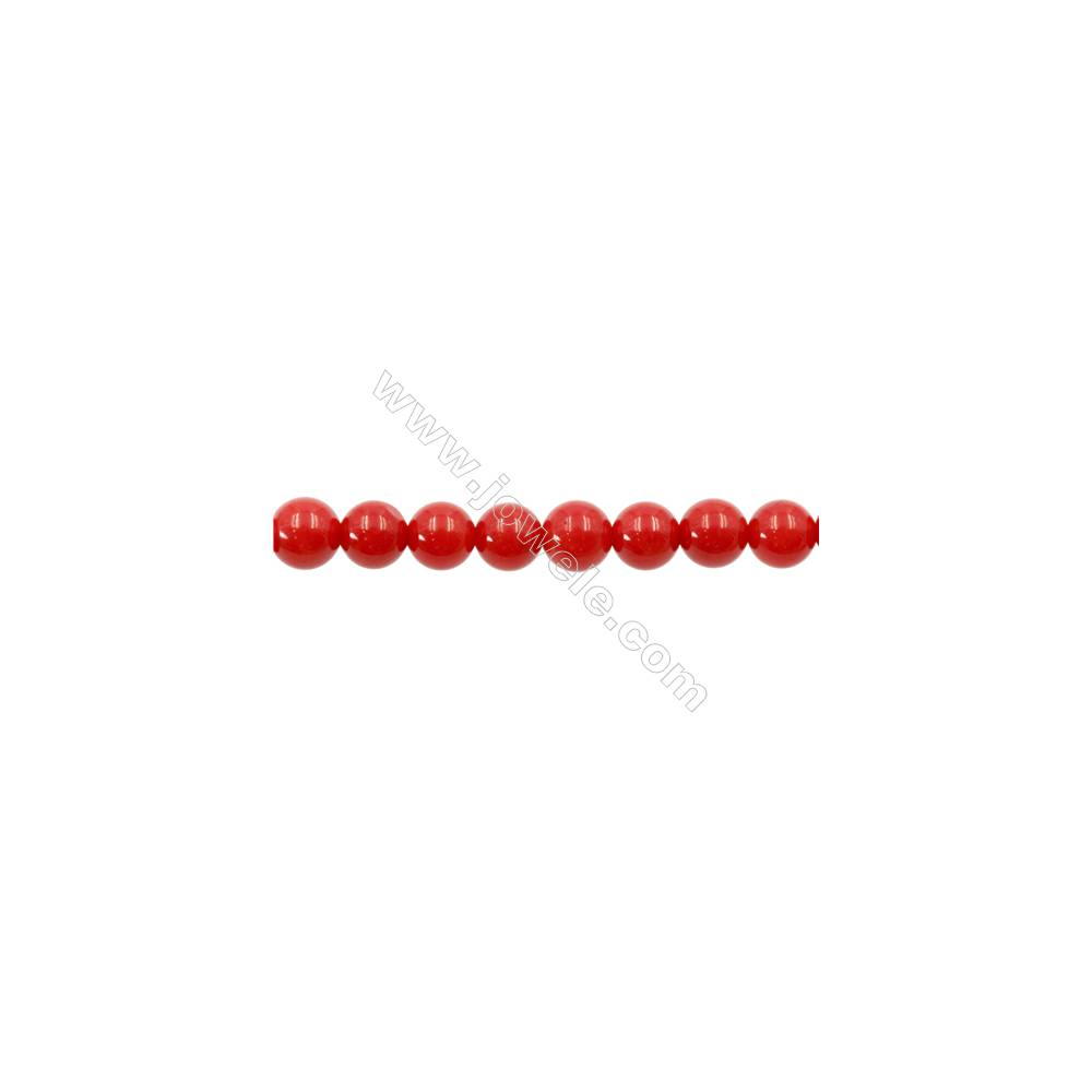 Red Colors Coral Round Beads Strands, Dyed, Diameter 6mm, Hole 1mm, about 66 pcs/strand 15~16""
