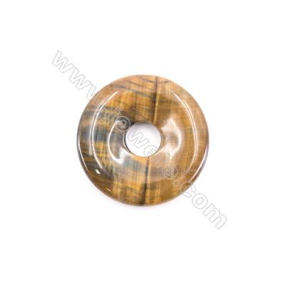 Natural Tiger Eye Pendant Accessory  Donut  Diameter 40mm   hole 8mm x 1piece