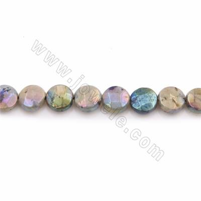 "Electroplated Natural Labradorite Beads Strands, Flat Round(faceted), Round 8mm, Thick 3mm, Hole 0.7mm, 15~16""/strand"