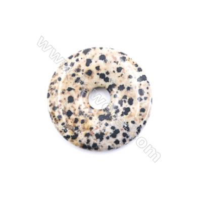Natural Dalmatian Jasper Pendant Accessory  Donut  diameter 40mm  hole 8mm x 1piece