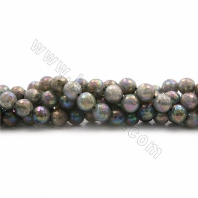 "Electroplated Natural Labradorite Beads Strands, Round(faceted), Diameter 9mm, Hole 1mm, 15~16""/strand"