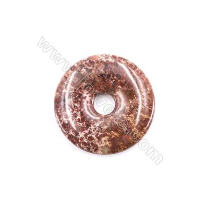 Natural Brecciated Jasper Pendant Accessory  Donut  Diameter 40mm   hole 8mm x 1piece