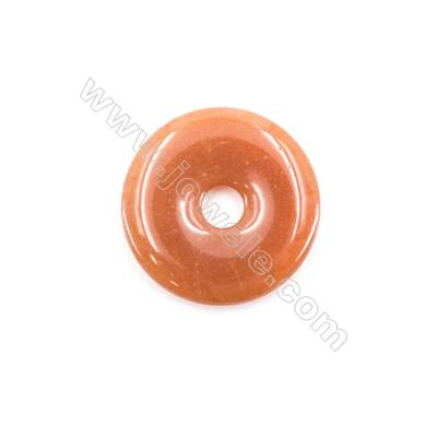 Natural Red Aventurine Pendant Accessories Donut  Diameter 40mm  hole 8mm x 1piece