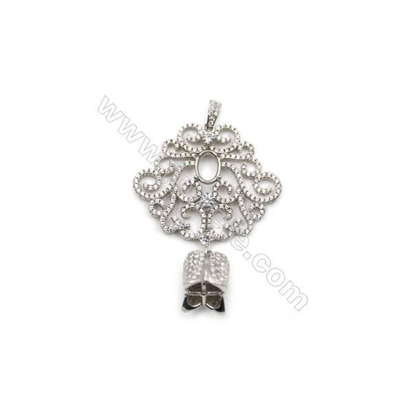 925 sterling silver platinum plated zircon pendant, 33x34mm, tray 6x7mm, x 2pcs