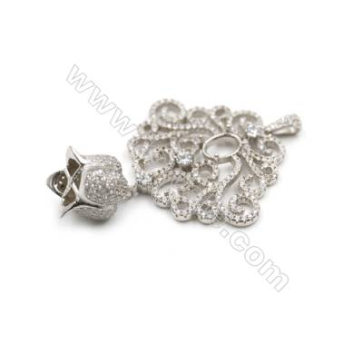 925 sterling silver platinum plated zircon pendant -841065 33x34mm x 2 Disc disc diameter 6x7mm
