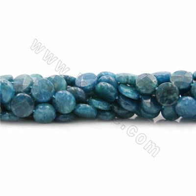 "Natural Apatite Beads Strands, Coin (faceted), Size 10mm, Thick 4mm, Hole 0.7mm, 15~16""/strand"
