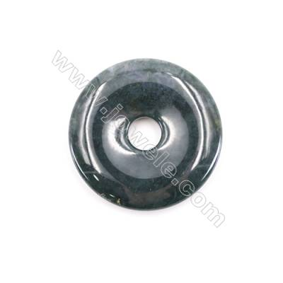 Natural Moss Agate Pendant Accessory  Round  Diameter 50mm  hole 10mm x 1piece