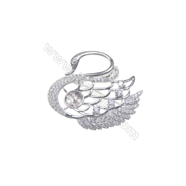 925 sterling silver platinum plated zircon brooches, Swan, 41x37mm, x 2pcs, tray 10mm, pin 0.7mm