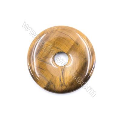 Natural Tiger Eye Pendant Accessory  Donut  Diameter 50mm   hole 10mm x 1piece