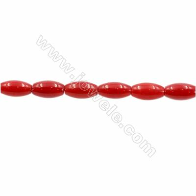 Red Colors Coral Rice Beads Strands, Dyed, Size 5x9mm, Hole 0.7mm, about 43 pcs/strand, 15~16""