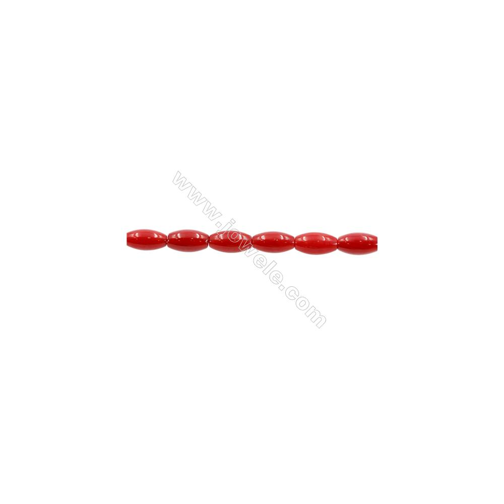 """Red Colors Coral Rice Beads Strands, Dyed, Size 5x9mm, Hole 0.7mm, about 43 pcs/strand, 15~16"""""""