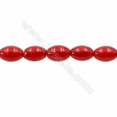 Red Colors Coral Rice Beads Strands, Dyed, Size 6x8mm, Hole 0.8mm, about 46 pcs/strand 15~16""