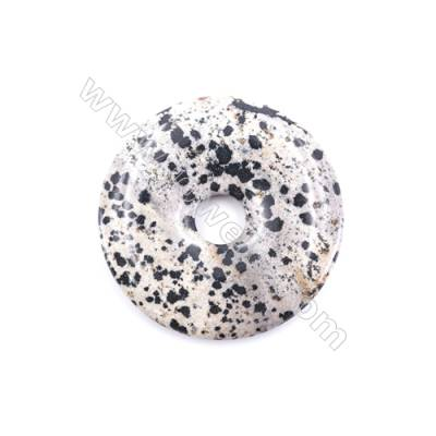 Natural Dalmatian Jasper Pendant Accessory  Donut  diameter 50mm  hole 10mm x 1piece