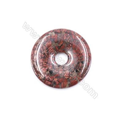 Natural Brecciated Jasper Pendant Accessory  Donut  Diameter 50mm   hole 10mm x 1piece
