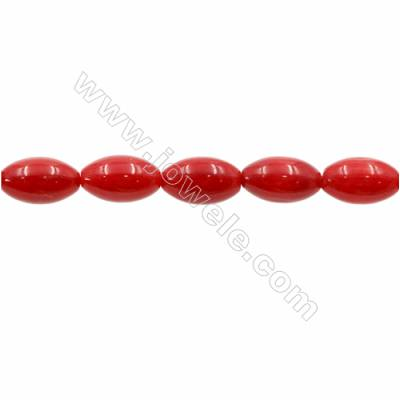 Red Colors Coral Rice Beads Strands, Dyed, Size 7x11mm, Hole 1mm, about 37 pcs/strand 15~16""