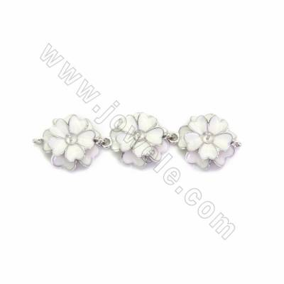 925 Sterling Silver Connectors, Flowers, Size 54x14mm, Hole 1.2mm, Pin 0.7mm, 2pcs/pack