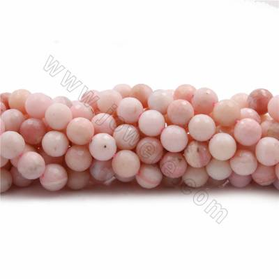 "Natural Pink Opal Beads Strands, Round(faceted), Size 10mm, Hole 0.7mm, 15~16""/strand"