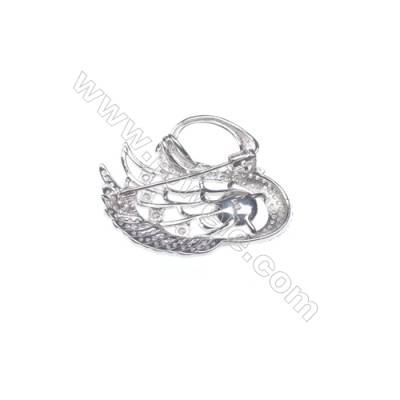 925 sterling silver platinum plated zircon  brooches  Swan  41x37mm x 2pcs  tray 10mm  pin 0.7mm