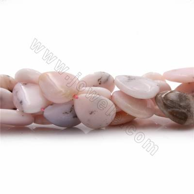 "Natural Pink Opal Beads Strands, Flat Teardrop, Size 25x18mm, Thick 6mm, Hole 0.6mm, 15~16""/strand"